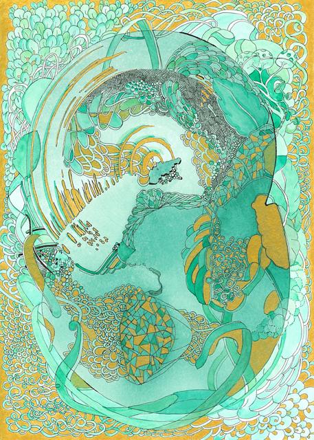 Angelika Arendt, Tusche und Aquarell auf Papier, 24 x 17 cm