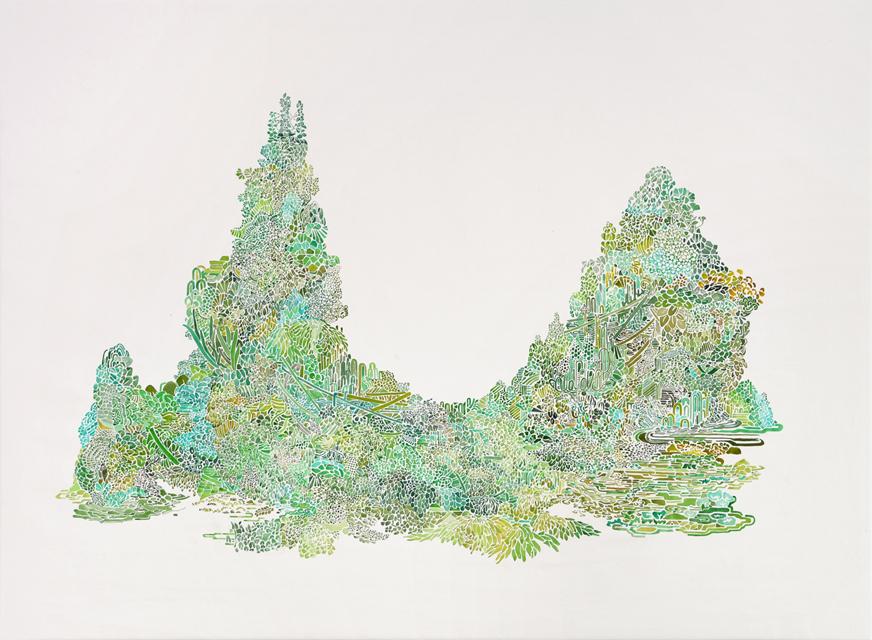 Angelika Arendt, Tusche auf Leinwand, 96 x 130 cm