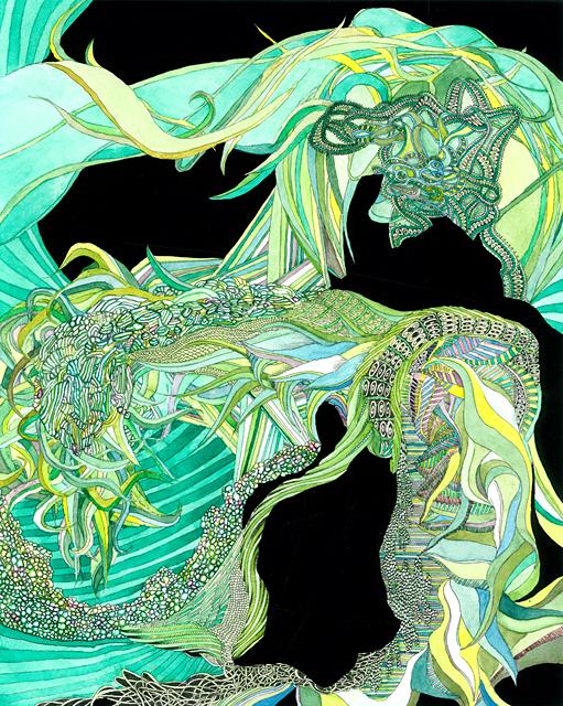 Angelika Arendt, Fineliner, Aquarell, Gouache, Papier, 24 x 30 cm