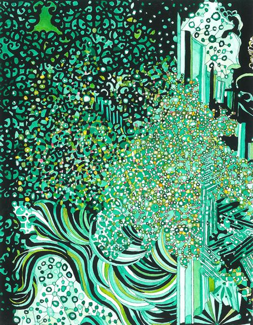 Angelika Arendt, Tusche, Aquarell und Tempera auf Papier, 18 x 14 cm,