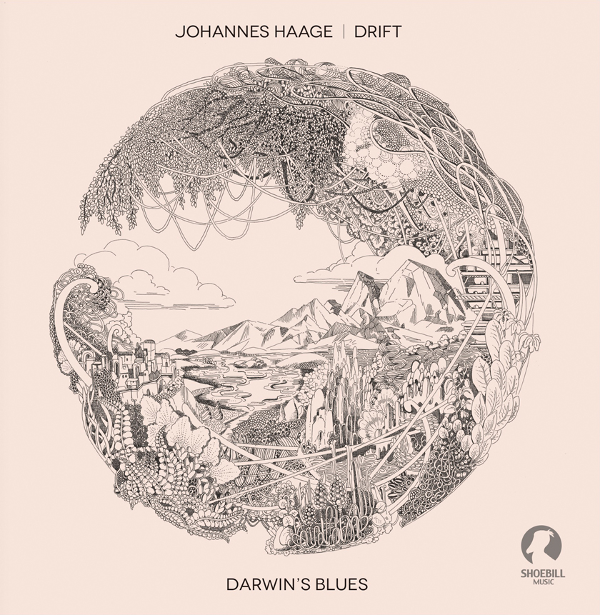 """""""Darwin's Blues"""" is the second album by Johannes Haage´s trio """"DRIFT"""". Original Artwork by Angelika Arendt"""