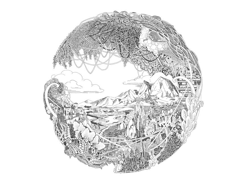 Darwins Blues, 2018, Tusche auf Papier, 30 x 40 cm
