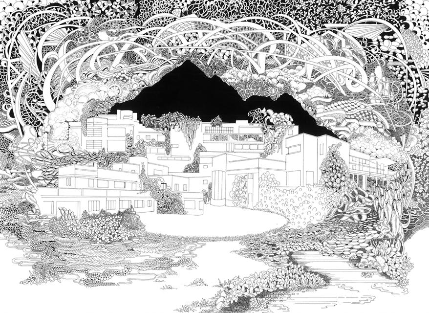 Die neue Utopie II, 2019 Tusche und Gouache auf Papier, 30 x 24 cm